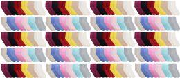 120 Bulk Yacht & Smith Womens Soft Fuzzy Gripper Crew Socks, Assorted Solid Size 9-11