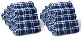 24 Bulk Yacht & Smith 50x60 Fleece Blanket, Soft Warm Compact Travel Blanket, Navy Plaid