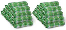 12 Bulk Yacht & Smith 50x60 Fleece Blanket, Soft Warm Compact Travel Blanket, Green Plaid