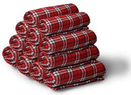 12 Bulk Yacht & Smith 50x60 Fleece Blanket, Soft Warm Compact Travel Blanket, Red Plaid