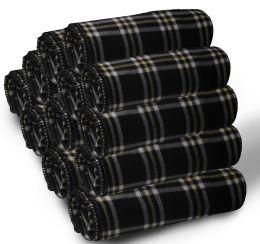 12 Bulk Yacht & Smith 50x60 Fleece Blanket, Soft Warm Compact Travel Blanket, Black Plaid