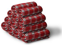 60 Bulk Yacht & Smith 50x60 Fleece Blanket, Soft Warm Compact Travel Blanket, Red Plaid