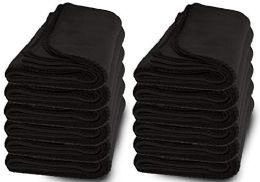 12 Bulk Yacht & Smith 50x60 Fleece Blanket, Soft Warm Compact Travel Blanket, Black