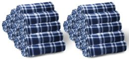 24 Bulk Bulk Soft Fleece Blankets 50 X 60, Cozy Warm Throw Blanket Sofa Travel Outdoor, Wholesale (50 X 60, 24 Navy Plaid)