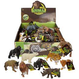 36 Bulk Wild Animal Figures Plstc 12ast Ht/36pc Pdq Dump Display