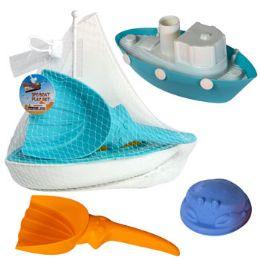 18 Bulk Boat Playset 3pc W/beach Tools 2asst Tug Or Sail Mesh Bag W/ht