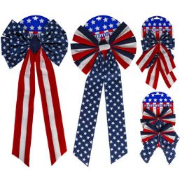 24 Bulk Bow Patriotic Velvet Single/2pk 4ast 26in/8in Patriotic Tcd