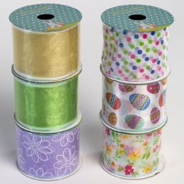 48 Bulk Ribbon Wire Easter/spring 6ast 2.5in X 3yd 24pc Pdq