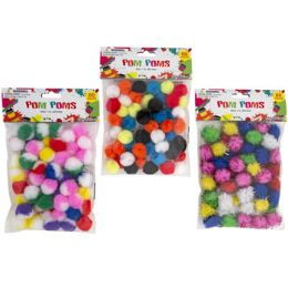 36 Bulk Craft PoM-Poms 3ast Styles 60ct 1in Marble/solid/tinsel Craftpbh
