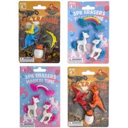 72 Bulk Eraser Set Novelty 3pc Unicorn/ Dinosaur 4asst Blc