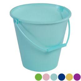 36 Bulk Bucket W/handle 6ast Solid Colors/upc Label