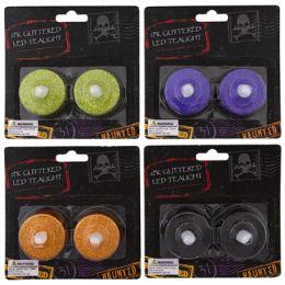 48 Bulk Tealight Led 2pk Glitter 4ast Halloween Colors 1.5in/blc