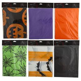 24 Bulk Tablecover Flannelback Halloween 6ast 3prt/3sld 52x70in Pbh