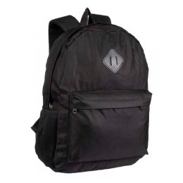 "24 Bulk 17"" Backpacks With Side Mesh Water Bottle Pockets In Black"