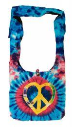 10 Bulk Nepal Handmade Hobo Bag Blue Tie Dye Peace