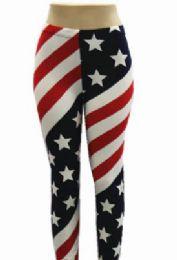 48 Bulk Women Full Length American Flag Leggings