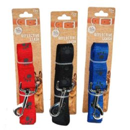 36 Bulk Leash Paws Large 72 Inch Assorted Color