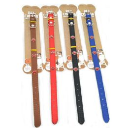 96 Bulk Dog Collar Solid 13.5 Inch Assorted Color