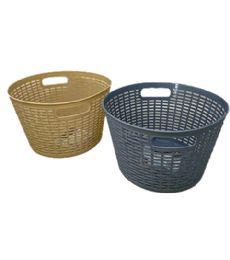 72 Bulk Plastic Basket Round Assorted Color