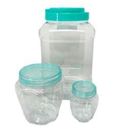 36 Bulk 3 Piece Square Plastic Jar