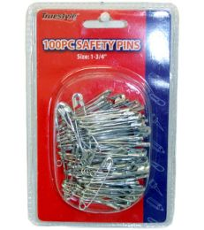 96 Bulk 100 Piece Safety Pins In Double Clam Shell
