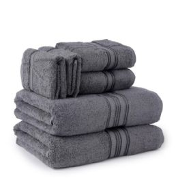 6 Bulk Six Pieces Towel Set Grey Ring Spun Cotton