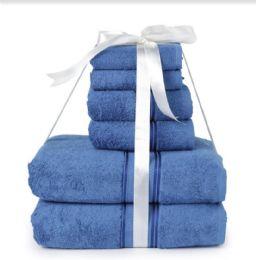 6 Bulk Six Pieces Towel Set Blue Ring Spun Cotton