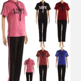 72 Bulk Womens Love Print 2 Piece Sports Tops Striped Long Pants Tracksuit