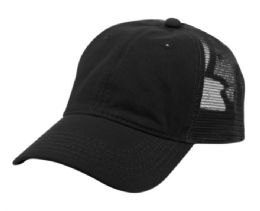 12 Bulk PONYTAIL WASHED COTTON TRUCKER CAP IN BLACK