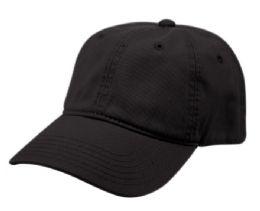 12 Bulk PONYTAIL WASHED COTTON BASEBALL CAP IN BLACK