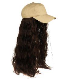 12 Bulk COTTON BASEBALL CAP W/WAVY CHIC WIG W/HAIR NET IN KHAKI