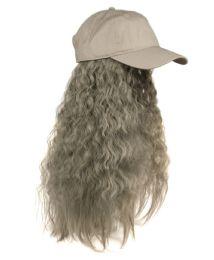 12 Bulk COTTON BASEBALL CAP W/WAVY CHIC WIG W/HAIR NET IN GRAY