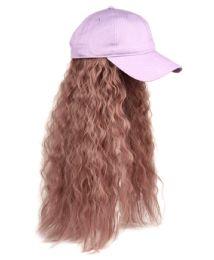 12 Bulk COTTON BASEBALL CAP W/WAVY CHIC WIG W/HAIR NET IN LAVENDER