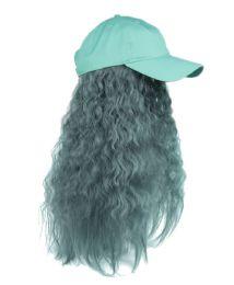 12 Bulk COTTON BASEBALL CAP W/WAVY CHIC WIG W/HAIR NET IN MINT