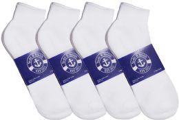 24 Bulk Yacht & Smith Womens Cotton White Sport Ankle Socks, Sock Size 9-11
