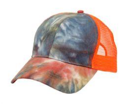 12 Bulk PONYTAIL TIE-DYE COTTON TRUCK CAP IN MIX RUST