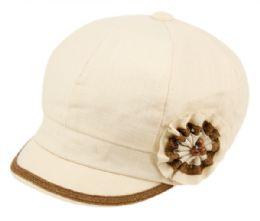 24 Bulk CABBIE HATS WITH FLOWER