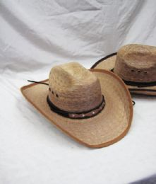 12 Bulk Mens Straw Round Up Cowboy Hat