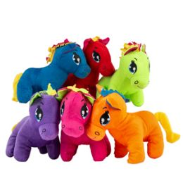 "24 Bulk 9"" Plush Colorful Pony"