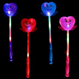 48 Bulk LighT-Up Smiley Heart Wand