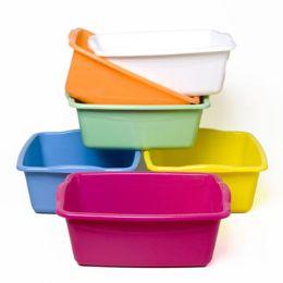 48 Bulk Dish Pan Rectangular 6 Colors 15 X 12 X 5 #pb007