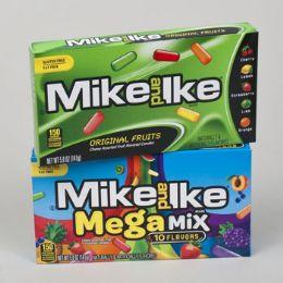 72 Bulk Candy Mike & Ike Orig And Mega Mix 5 Oz Theater Box In Flr Dspl