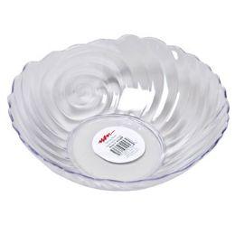 48 Bulk Serving Bowl 10 Inch Round Clear Swirl Design In Pdq