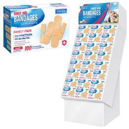 96 Bulk Bandages 100ct Family Pack 96pc Floor Display