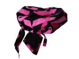216 Bulk Pugs Womens Headwrap With Cancer Ribbon