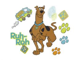 24 Bulk Scooby Doo Prints SelF-Stick Wall Decor Stickers Set