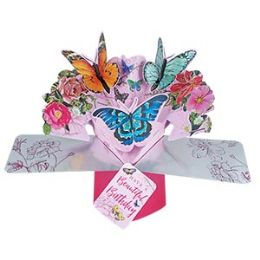 12 Bulk Happy Birthday Pop Up Card - Butterflies