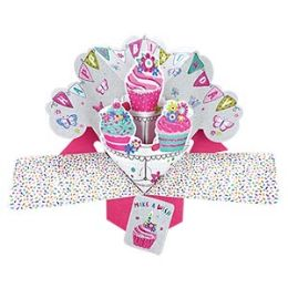 12 Bulk Happy Birthday Pop Up Card - Cupcakes
