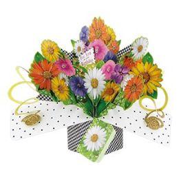 12 Bulk Happy Birthday Pop Up Card -Flowers
