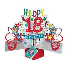 12 Bulk Happy 18th Birthday Pop Up Card -Stars
